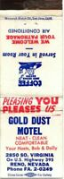 GOLD DUST MOTEL US Hwy 395 Reno Nevada Vintage Matchcover Matchbook Advertising