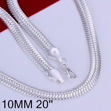 "925Sterling  Silver Solid Silver Flat Snack Chain Men Necklace 10MM 20"" GN209"