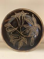 Handmade Ceramic Art Pottery Bowl Signed -(Squash Blossom / Style / Vintage)