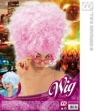Pink Afro Beehive Wig Priscilla Marge Simpson Style Fancy Dress