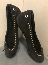 Original Car Shoe woman black w/gold studs suede shoes 35 / US 5 Made in Italy