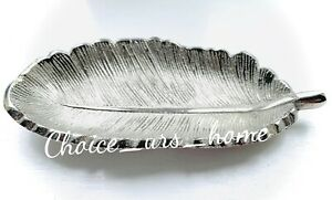 LOVELY SILVER FEATHER DECORATIVE TRINKET DISH HOME DECOR RINGS, JEWELLERY 12.5cm