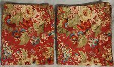 2 Chaps Ralph Lauren Summerton Pillow Sham Std Red Floral Houndstooth Plaid Pair