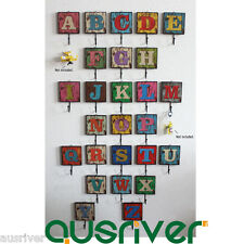6pcs Antique Retro Capital Letters A-Z Wood Wall Mounted Hanger Hook ClothesCoat
