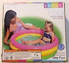 "Intex Sunset Glow Baby Pool Round Kids Swimming Pool Pink Yellow Green 34"" x 10"""