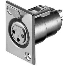 Conector chasis microfono XLR 3 pin hembra  Gris