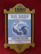 Vintage 1889 Big Reds Creamed Corn Rooster Wall Plaque Apple Cupboard Grocery Co