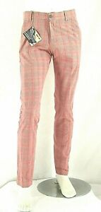 Pantaloni Uomo ENERGIE B765 Gamba Dritta Rosso Tenue Tg 31 veste grande