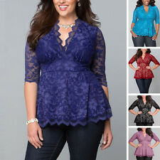 UK STOCK Fashion-Women-Short-Sleeve-Shirt-Embroidery-Lace-Casual-Blouse-Top