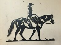 HorSe Cowgirl WESTERN METAL ART RANCH RUSTIC LODGE MOUNTAIN CABIN WALL DECOR