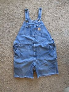 Carhart 100% Cotton Blue Denim Overall Coverall Cut Off Shorts Men's Size XL