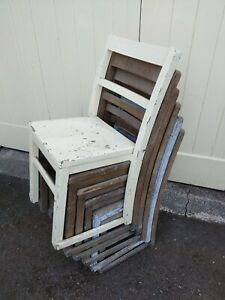 6 x Vintage Retro Wooden Square Stackable School Chairs
