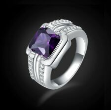 Solitaire Mens Halo Size 9 Amethyst Fashion Engagement Gold Filled Rings Halo
