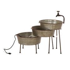 "Glitzhome 30""L Galvanized Metal Tap Watering Fountain Pump Garden Tool Decor New"