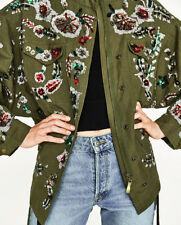 ZARA LIMITED EDITION EMBROIDERED SEQUIN PARKA JACKET COAT KHAKI SIZE M RRP £99