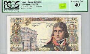 France 10 000 Francs 2.10.1958 K.129 n° 320924983 PCGS 40 EF