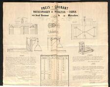 altes Dokument, Preisliste Josef Greiner München , Brückenwaage 1861  #H187
