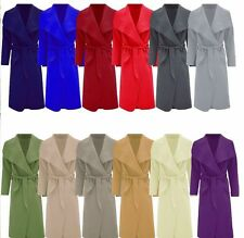 New Womens Ladies Drape Belt Waterfall Long Sleeve Cape Trench Coat UK 8-20