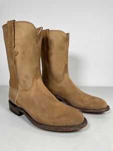 Men's Lucchese Roper Boots Bannock Suede Handmade Sand Size 9 GY3503.RR