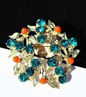 Gold tone flower wreath rhodium plated blue zircon color rhinestones  BROOCH