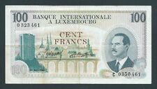 F.C. LUXEMBURGO LUXEMBOURG , 100 FRANCOS 1968 , MBC- (VF) , UN POCO SUCIO ,P.14a
