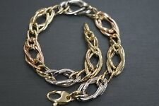 14K Solid Yellow Gold 9MM Wide Tri Color Fancy Hollow Light Weight Bracelet.