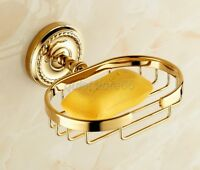 Golden Polished Brass Bathroom Wall Mounted Soap Dish Holder Basket qba607