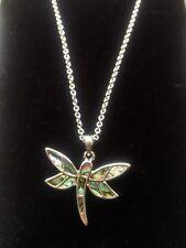Dragonfly Paua Shell Pendant Necklace