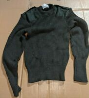 Military Surplus Commando Wool Sweater Crew-neck Style, Olive Drab, Size 38