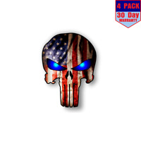 Punisher American Flag Blue Eyes 4 Stickers 4x4 Inch Sticker Decal
