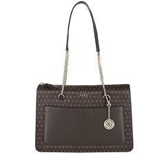 New DKNY R3103030 Top Zip Brown Logo monogram signature chain Tote shoulder Bag