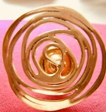 Vintage Ed Levin Solid 14K Gold Hand Wrought Spiral Coiled Brooch Pin
