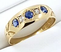 18k Antique Sapphire/Diamond RING_750 yellow gold_Hallmarked Birmingham 1897