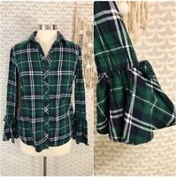 Beachlunchlounge Green Flannel Plaid Bell Flounce Sleeve Top Blouse Size XS