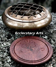 Honey-Dark Brass Incense Burner -Censer w/Coaster Screen Top-Resin-Charcoal-Cone
