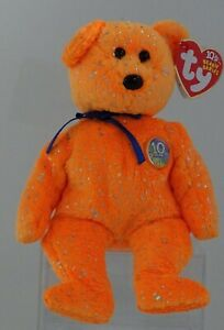 TY Beanie Babies DECADE Orange 10th Anniversary W/Display Cube