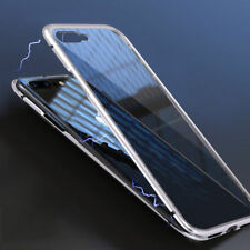 Magnetic Adsorption Metal Case for iPhone X 7 7 Plus 8 XS Max + Tempered Glass
