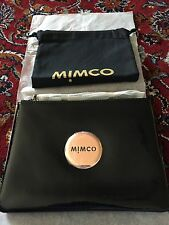 BNWT MIMCO Medium Black Patent Leather Pouch - Roselgold Badge RRP 99 - Express