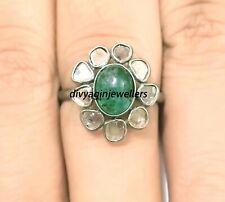 Natural Polki Diamond & Emerald Ring 925 Sterling Silver Green Gemstone Jewelry