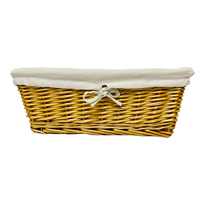 Straw Basket Large Storage Basket Bin With Fabric Liner 16.5 x 12 Inches