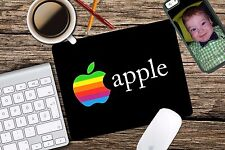 Vintage Apple Rainbow Black Retro Logo Mac Mouse Pad Mousepad Home Office