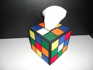 Rubiks Rubix Cube Plastic Canvas Handmade Tissue Box Cover