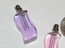 1 Crystal Perfume S vial pendant glass bottle SCREW CAP great 4 Necklaces Purple