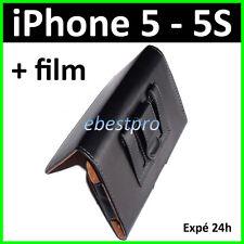 Protection Housse Coque Etui Pochette PU Cuir Noir Clip Ceinture iPhone 5 5Gs 5S