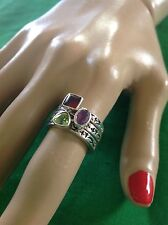 Silpada R0455 Set Of 3 Stackable Rings Peridot, Garnet, Amethyst Size 6
