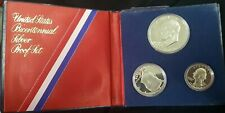 "USA silver proof set of 3 coins, + BOX 1976 YEAR  ""LIBERTY """