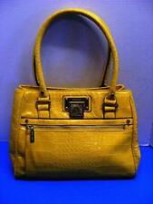 Anne Klein Hand/Shoulder Bag Lion Head Logo Yellow Lizard Skin Pattern Faux