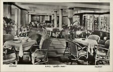 RMS Steamship Queen Mary Interior Real Photo Postcard TOURIST LOUNGE