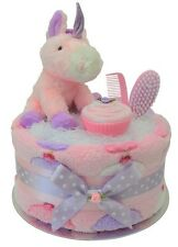 Magical 'Cupcakes & Unicorns' Nappy Cake/New Baby Shower Baby Girl Gift