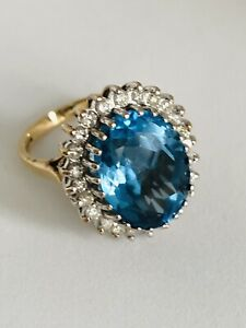 9CT BLUE TOPAZ AND DIAMOND CLUSTER RING 375 9KT SIZE K 1/2